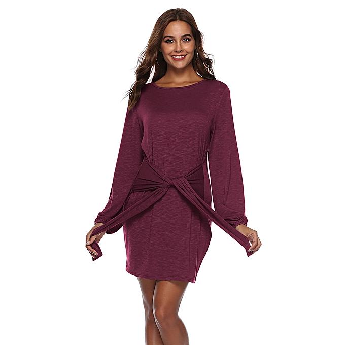5f95257f52c2 Fashion Hiaojbk Store Women Long Sleeve Bandage Solid Above Knee Mini Dress  Loose Party Dress Sundress-Red