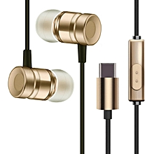 USB Type-C In-Ear Metal Earphone with Mic Wired Earbuds for Letv-gold