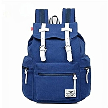 AUGUR New Fashion Men's Backpack Vintage Canvas Backpack School Bag Men's Travel Bags Large Capacity Travel Backpack Camping Bag(Blue)