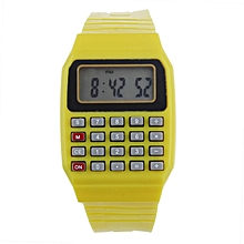 Unsex Silicone Multi-Purpose Date Electronic Wrist Calculator Watch YW