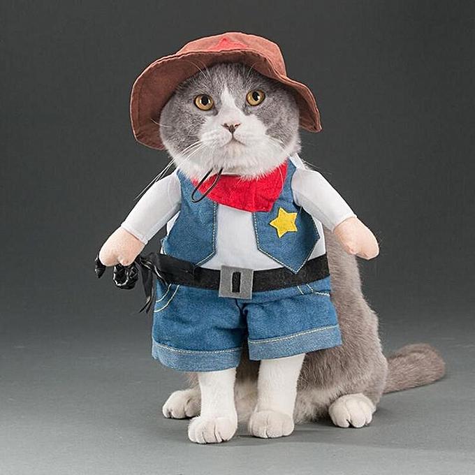 ... Pet Dog Cat Halloween Costume Funny Cute Dress Up Suit Christmas Party  Clothes Cowboy S ... 5e2904210214