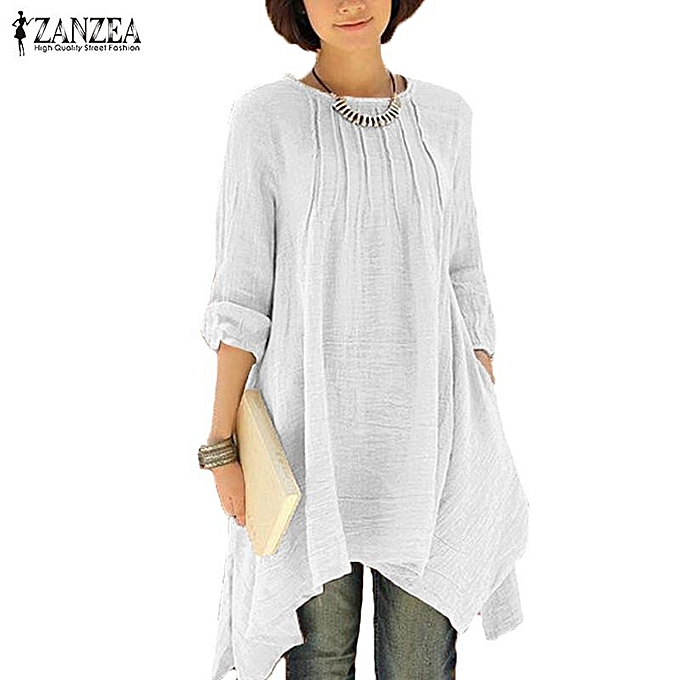 58c629175c4 ... Shirt Blouse Tops (Off White) · ZANZEA Women Vintage Solid O-Neck  Pleated Long Sleeve Buttons Irregular Hem Casual Loose Oversized