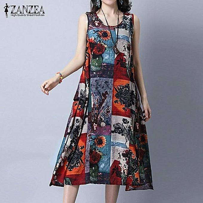 7014cd882d59 ZANZEA Plus Size Women Vintage Print Dresses Summer Sleeveless Loose  Pockets A Line Dress Casual Crew