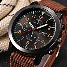 Mens Military Quartz Army Watch Black Dial Date Noble Sport Wrist Watch-Coffee