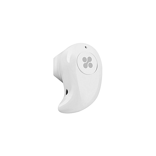 MONDO-3:White Wireless Bluetooth Earbud with Voice Prompt and Built-In Mic for Hands-Free Calling