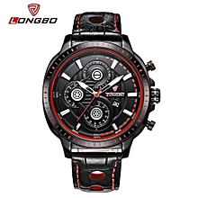 80198 Luxury Man Genuine Leather Watch Sports Quartz Watches For Men Male Leisure Clock Simple Watch - Red