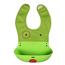 Baby Kids Infant Animal Toddler silica gel Cartoon Saliva Towel Lunch Bibs-Green