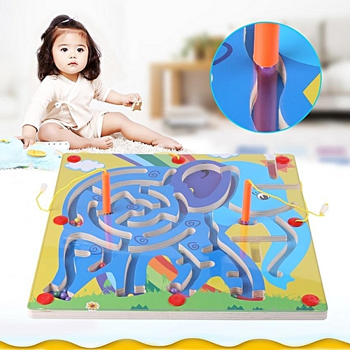 Kid Toy Magnetic Pen Walking Bead Marbles Labyrinth Wooden Maze Educational  Game Toys (#4)