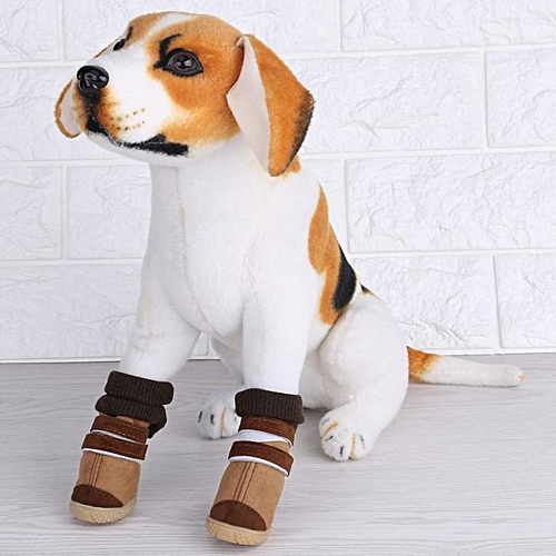 Generic Lovely Pet Dog Cat Puppy Warm Cozy Winter Snow Boots Shoes (Brown) 5c13cd114ef8