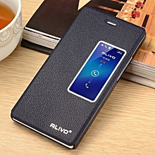 For Huawei Ascend P7 View Window Flip Leather Cover Case Luxury Pu Leather Case(Dark Blue)