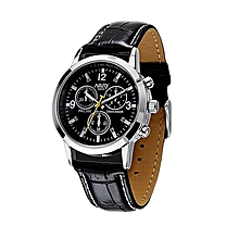 Watch Sport Military Quartz Dial Clock Men Leather Wrist Watch Round Case BK-Black