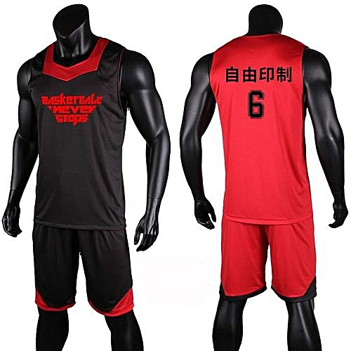 Eufy Double Side Men s Customized Team Basketball Sport Jersey Uniform-Black  Red(XYH-3028) 51773a109
