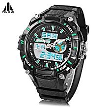 Male Dual Movt Sport Watch + Chronograph 5ATM + Outdoor Men Wristwatch-GREEN