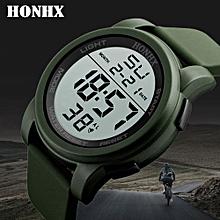 Luxury Male Analog Digital Military Army Sport LED Waterproof Wrist Watch-Green