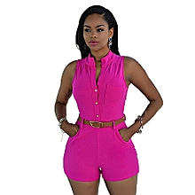 Women's Short Jumpsuit Sleeveless Slim Fit Causal Playsuit With Belt-Rose