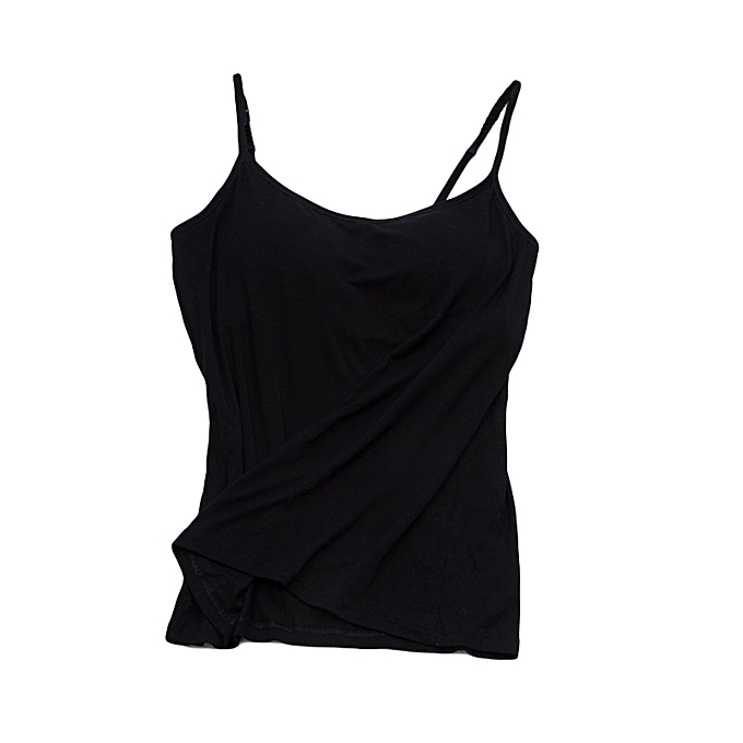 8da074db257c8d Lady Padded Adjustable Spaghetti Strap Tank Top Solid Color Comfortable  Camisole-Black