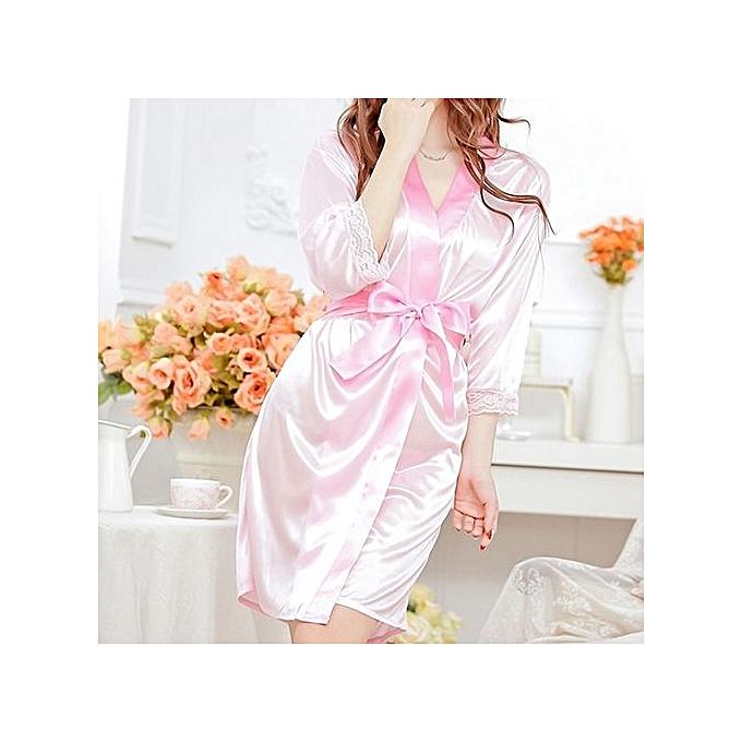 60a86449c5 ... Women Fashion Fantastic Sexy Wild Temptation Lace Sleepwear Bathrobe + G -string-Pink