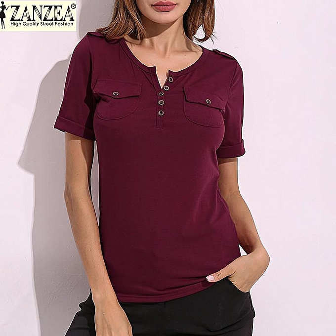 d8ceb14e9 ZANZEA Women Summer Tee Tops Short Sleeve Casual Slim Fitted Ladies V Neck  Plunge T-