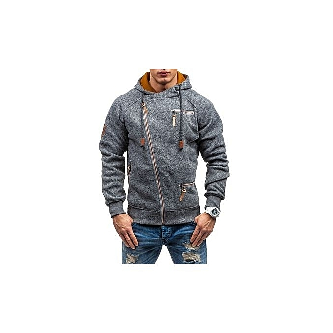 Fashion New Mens Hooded Sweater Personality Side Zipper Cationic