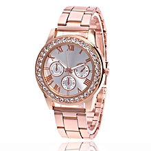 Duanxinyv-Women Fashion Stainless Steel Band Analog Quartz Round Wrist Watch Watches