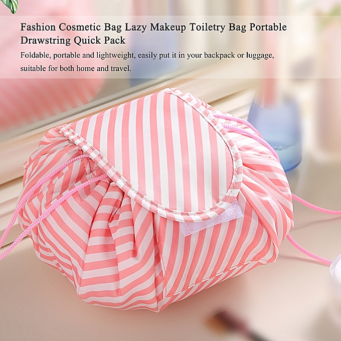 fb8397fb7ed9 Fashion Cosmetic Bag Large Capacity Lazy Makeup Toiletry Bag Storage  Portable Drawstring Quick Pack Waterproof Travel Bag