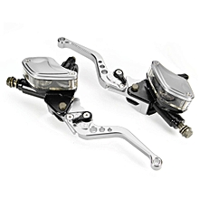 Universal Motorcycle Hydraulic Brake Clutch Master Cylinder Reservoir Lever PAIR