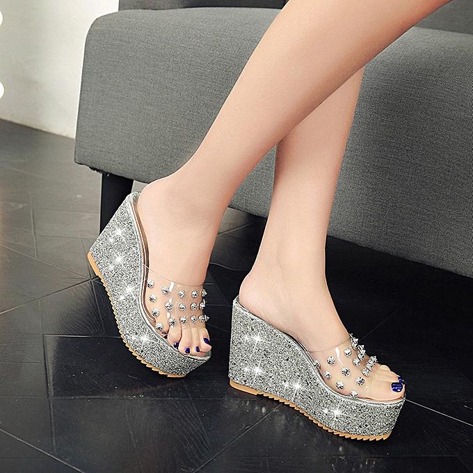 54d2fcff2a6 ... Summer Transparent Platform Waterproof Sandals Wedge Sandals Women  Slippers ...