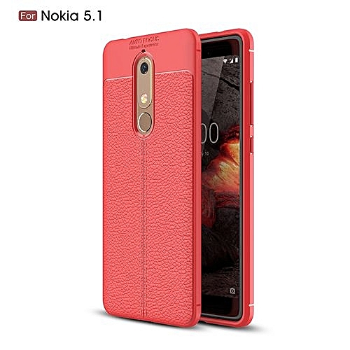 Generic Nokia 5.1 Silicone Case, Litchi Pattern TPU Anti-knock Phone Back Cover For Nokia 5.1 - Red.