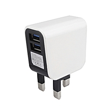 YOUPIN UK Plug Dual USB Port White Travel Wall Charging Adapter for Cell Phone