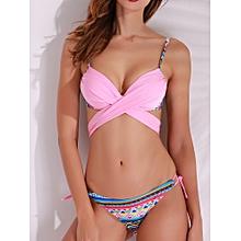 Cross Straps Bikini Geometric Printed Ethnic Style Swimwear Sets