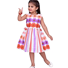 Orange/Purple Sleevess Cotton Dress with Floral Details