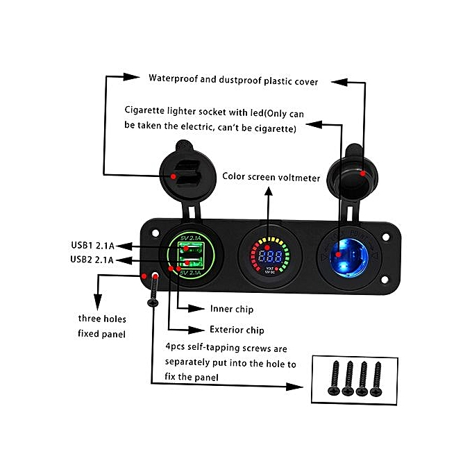 Car Power Port 4 2A 22W Dual USB Adapter Charger with Colorful Voltage Meter