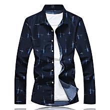 Print Turn-down T-Shirts Men Short Sleeve Shirts (Royal Blue)