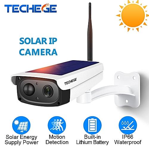 Techege 1080P WiFi Camera Intercom Waterproof Outdoor Solar Battery Charge  CCTV Camera Wireless Camera TF Card Slot APP Remote (1080P Add 64GB TF)