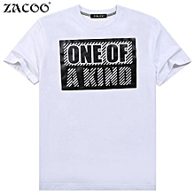 ZACOO Men's Summer Letters Printing Crew Neck Short Sleeve Pullover Pure Cotton T-shirt Color:White Size:M