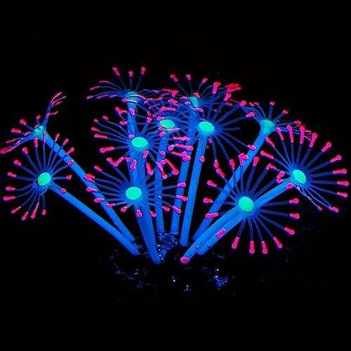Silicone Glowing Artificial Fish Tank Aquarium Coral Plants Ornament Underwater Pets Decor # Pink