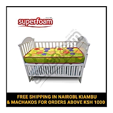 "Superfoam Multi-Colored Baby Cot Mattress 48"" x 24"" x 4"" (Foam Medium Density Mattress, Firm)"