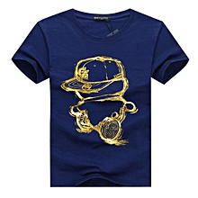 Mens Fashion Summer Printing Tops Casual Tees Classic Round Neck Short Sleeve T-shirt