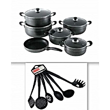 11 Piece- Non Stick Cooking Pots with 6 Non -Stick Spoons - Black