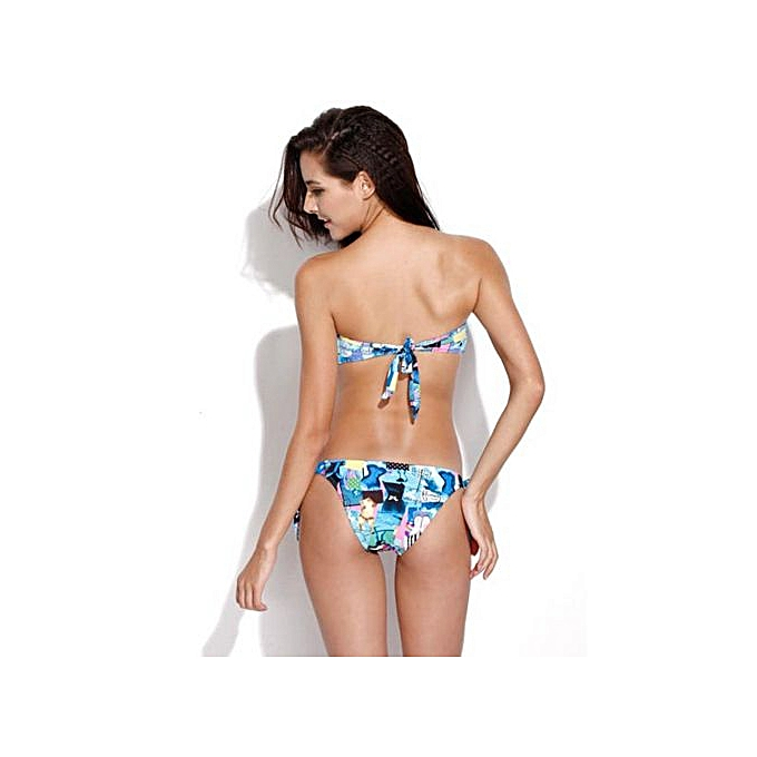 a85c54d4fed Fashion RELLECIGA Bluish Patchwork Print V Wire Strapless Bandeau ...