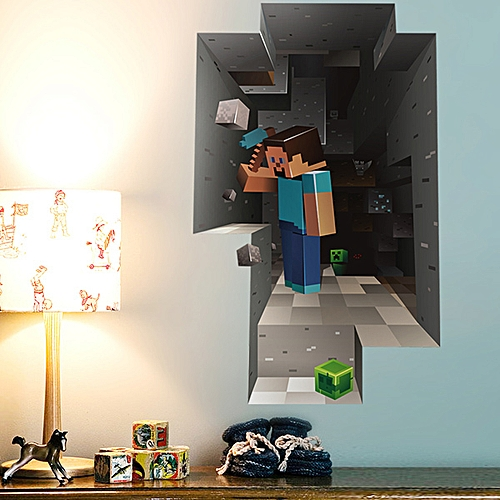 Generic Sweet 3D Mosaic Mining Pattern Wall Stickers For Children\\\'s ...