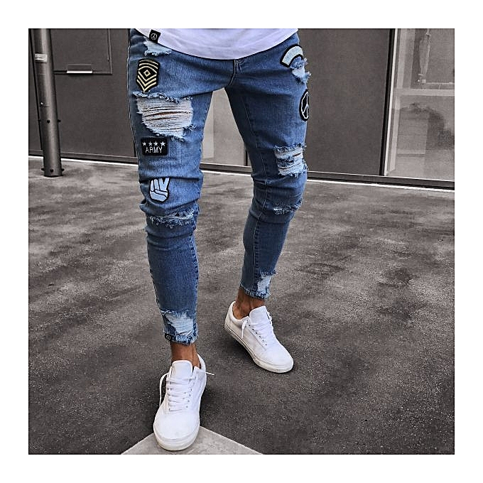 Generic Refined Men Feet Badge Jeans Men S Trends Knee Hole Zipper