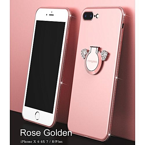 official photos f4e1d 7f743 IPhone 6 Plus Case, Phone Case, Luxury Rhinestone Phone Case Cute Angel  Bracket Finger Ring Case Soft TPU Cover For IPhone 6 Plus - Rose Gold