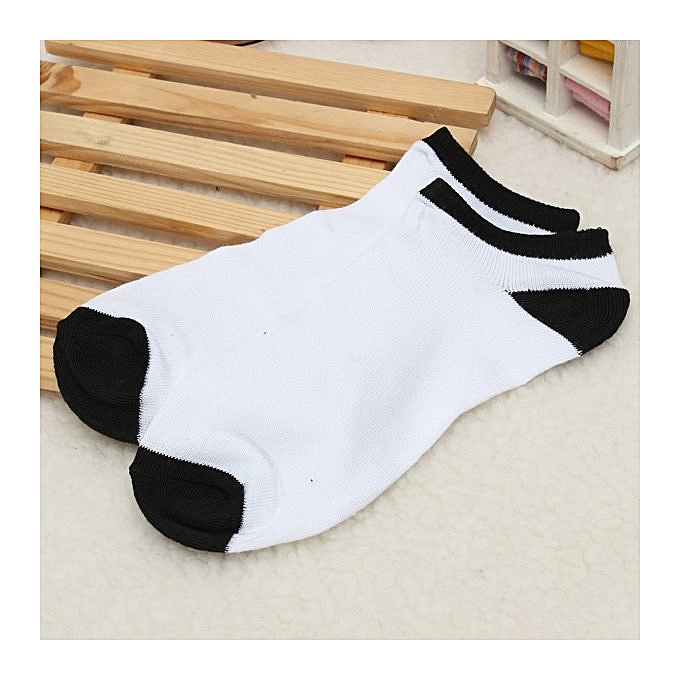 5 Pairs Men Soft Liner Cotton Sports Short Striped Socks Ankle Calf Toe Hosiery White