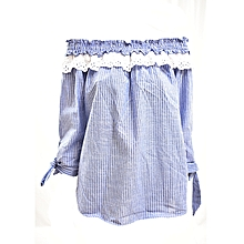 Blue Short Sleeved Women's Top With Lace On The Shoulder