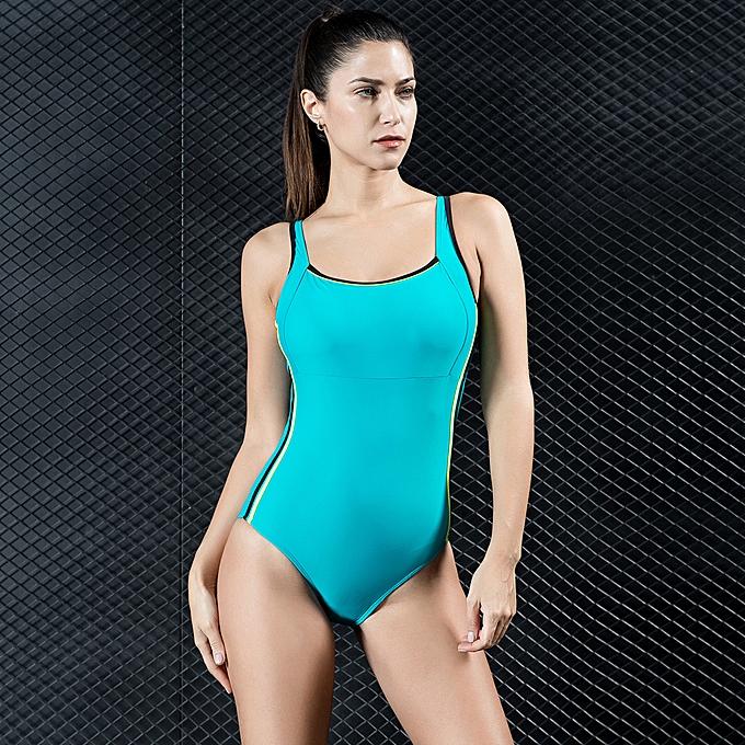 607fe1c36e1 Women Sports One Piece Swimsuit Swimwear Backless Bodysuit Splice Racing Training  Bathing Suit Monokini