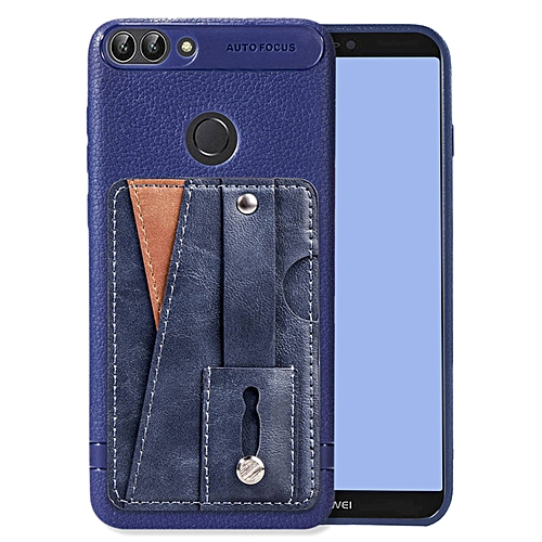 free shipping 7e2c3 e25f6 Huawei P Smart Case,Slim Durable Sleek Leather Wallet Back Cover with  Credit Card Slots Kickstand and Wrist Strap Shockproof Stand Phone Case for  ...