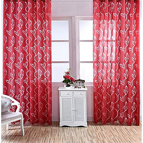 Buy Bluelans Bubble Leaf Pattern Window Sheer Curtain for Bedroom ...