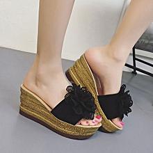d1ee0aa45d18 Jiahsyc Store Summer Floral Platform Waterproof Women Sandals Wedge Sandals  Slippers Shoes-Black