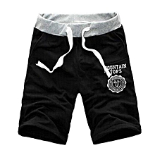 Fashion Casual Men Gym Sport Workout Jogging Cotton Drawstring Shorts Half Pants-Black.,
